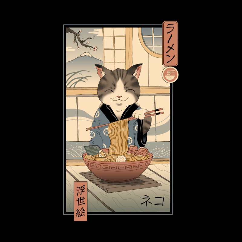 Neko Ramen Ukiyo-e Men's T-Shirt by Vincent Trinidad Art