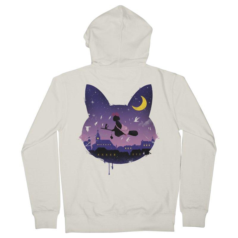 Midnight Cat Stroll Men's Zip-Up Hoody by vincenttrinidad's Artist Shop