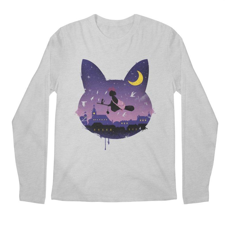 Midnight Cat Stroll Men's Longsleeve T-Shirt by vincenttrinidad's Artist Shop