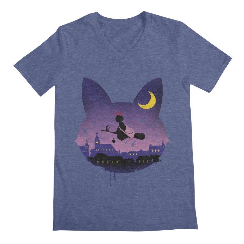 Midnight Cat Stroll Men's V-Neck by vincenttrinidad's Artist Shop