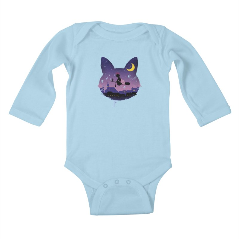 Midnight Cat Stroll Kids Baby Longsleeve Bodysuit by vincenttrinidad's Artist Shop