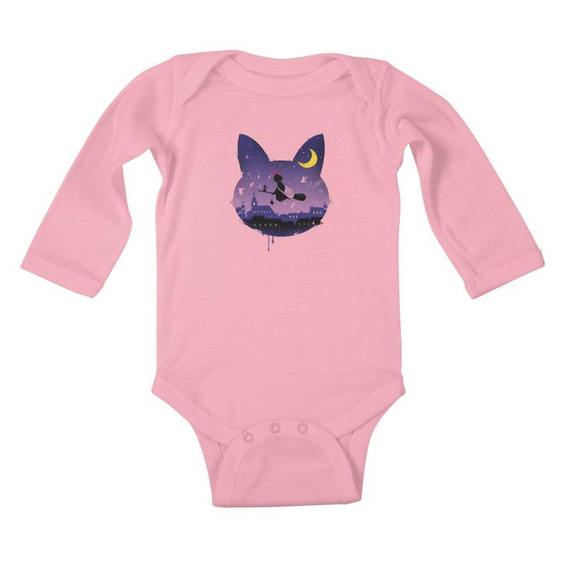 Midnight Cat Stroll Kids Baby Longsleeve Bodysuit by vincenttrinidad's Artist Shop