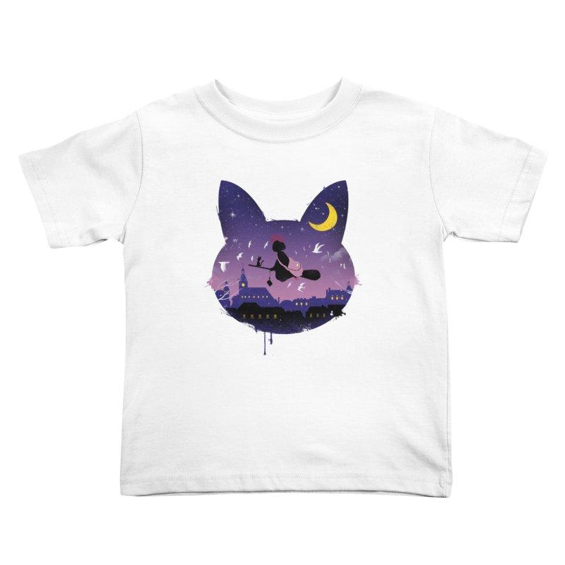 Midnight Cat Stroll Kids Toddler T-Shirt by vincenttrinidad's Artist Shop
