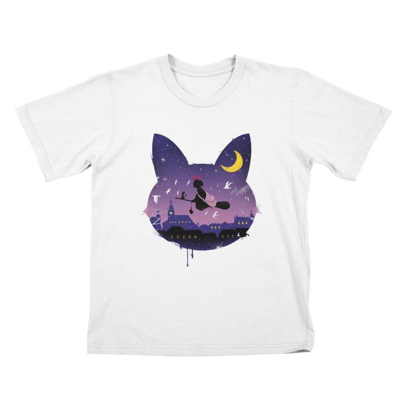 Midnight Cat Stroll Kids T-shirt by vincenttrinidad's Artist Shop