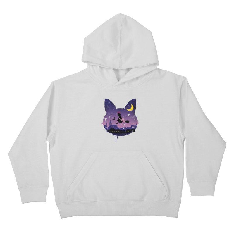 Midnight Cat Stroll Kids Pullover Hoody by vincenttrinidad's Artist Shop