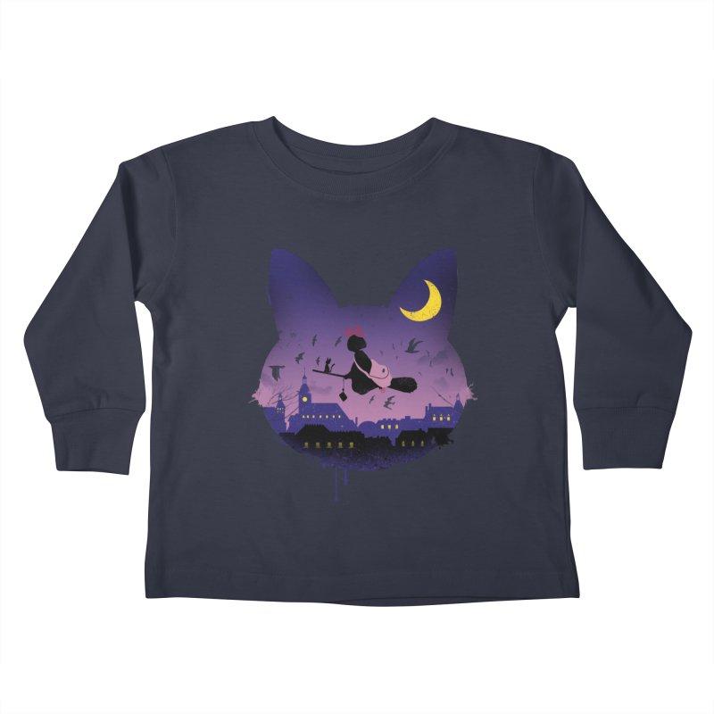 Midnight Cat Stroll Kids Toddler Longsleeve T-Shirt by vincenttrinidad's Artist Shop