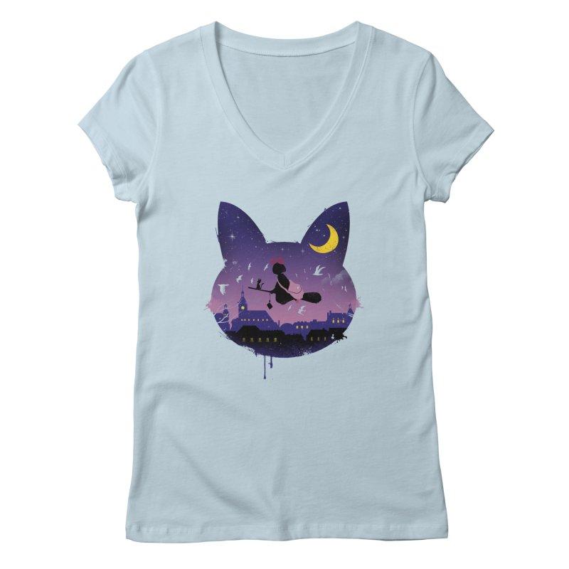 Midnight Cat Stroll Women's V-Neck by vincenttrinidad's Artist Shop