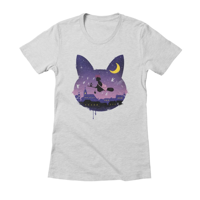 Midnight Cat Stroll Women's Fitted T-Shirt by vincenttrinidad's Artist Shop