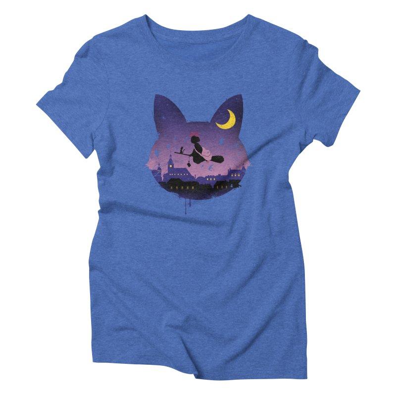 Midnight Cat Stroll Women's Triblend T-shirt by vincenttrinidad's Artist Shop