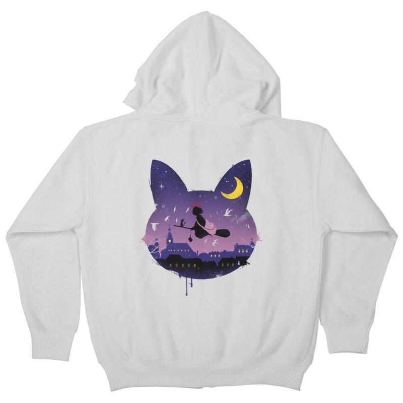 Midnight Cat Stroll Kids Zip-Up Hoody by vincenttrinidad's Artist Shop