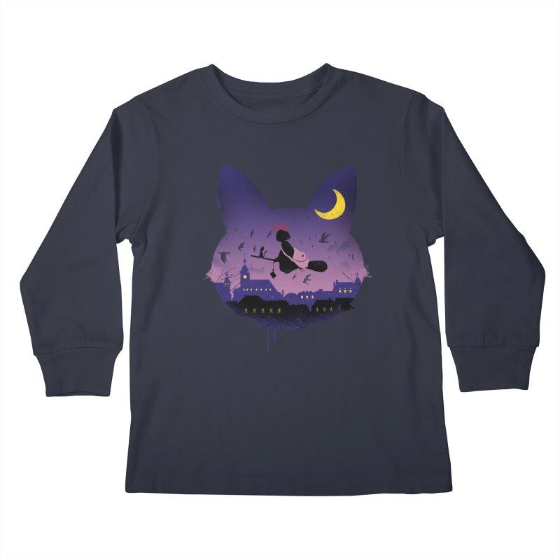 Midnight Cat Stroll Kids Longsleeve T-Shirt by vincenttrinidad's Artist Shop