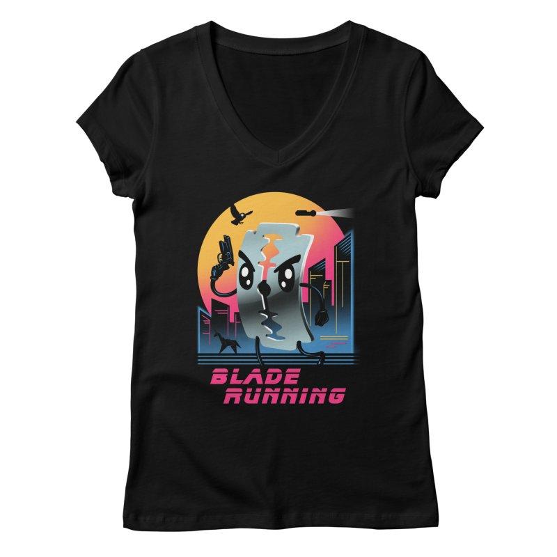 Blade Running Women's V-Neck by vincenttrinidad's Artist Shop