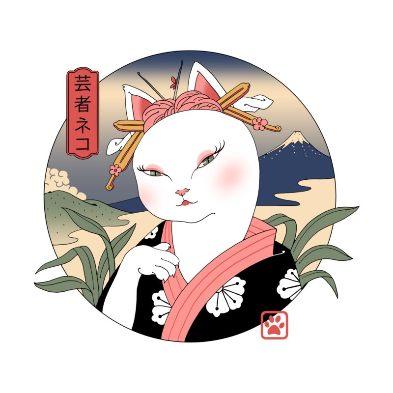 Neko Geisha Men's T-Shirt by Vincent Trinidad Art