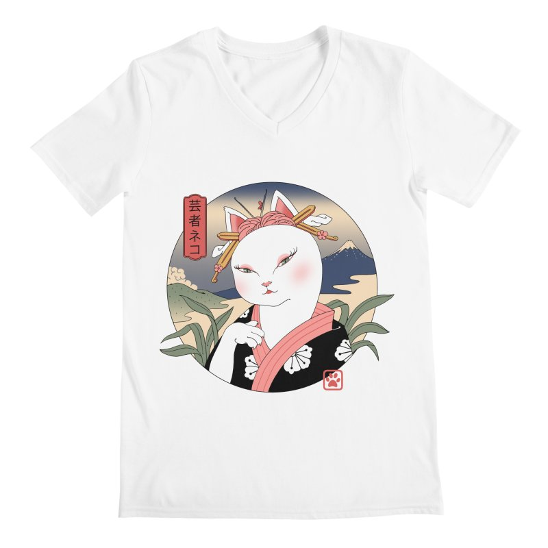 Neko Geisha Men's V-Neck by Vincent Trinidad Art