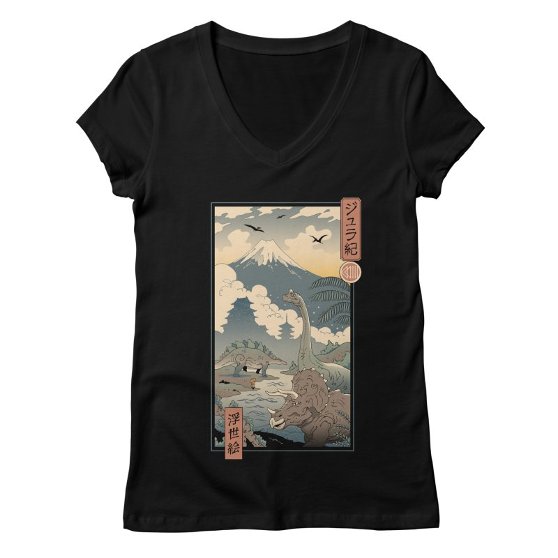 Jurassic Ukiyo-e 1 Women's V-Neck by Vincent Trinidad Art