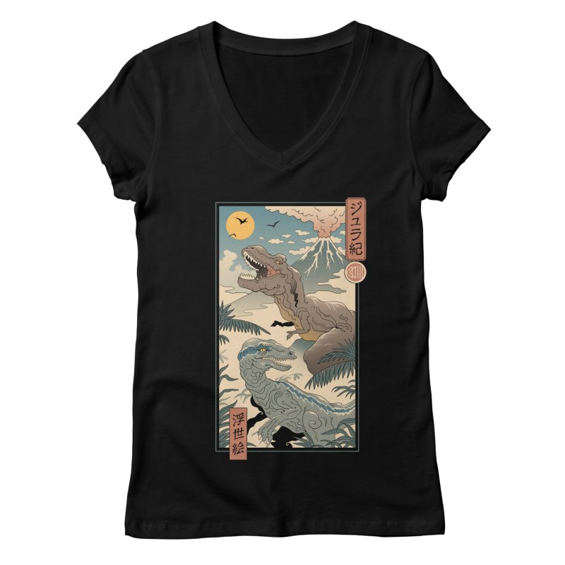 Jurassic Ukiyo-e 2 Women's V-Neck by Vincent Trinidad Art