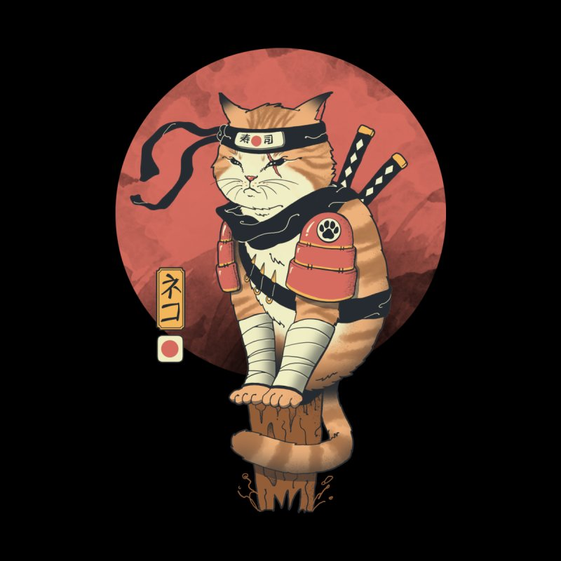 Shinobi Cat Men's T-Shirt by Vincent Trinidad Art