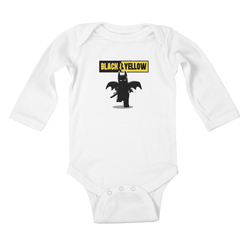 Bat and Yellow Kids Baby Longsleeve Bodysuit by vincenttrinidad's Artist Shop