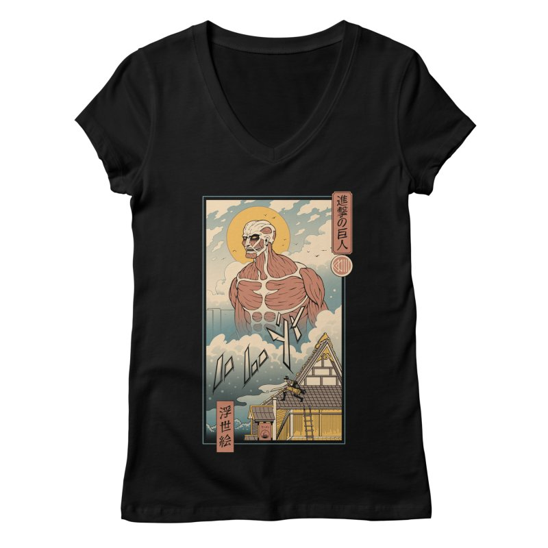 Titan In Edo Women's V-Neck by Vincent Trinidad Art