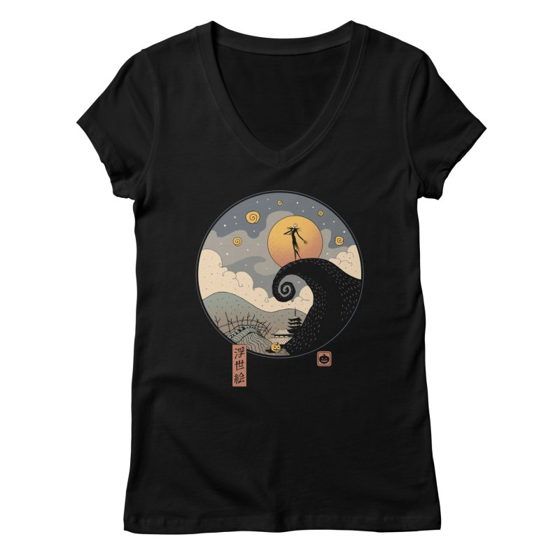Nightmare in Edo Women's V-Neck by Vincent Trinidad Art