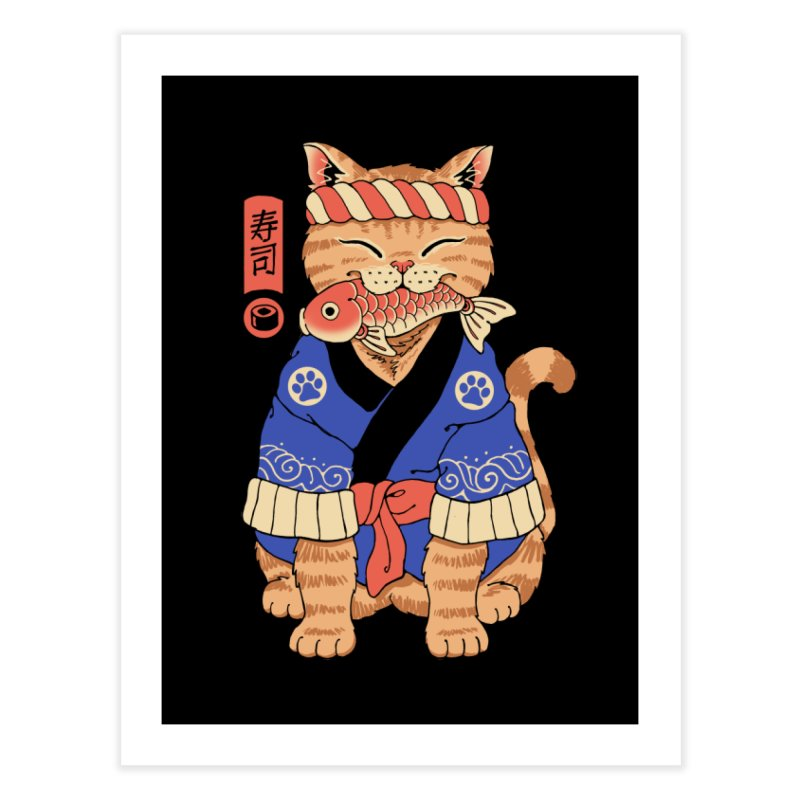 Sushi Meowster Home Fine Art Print by Vincent Trinidad Art