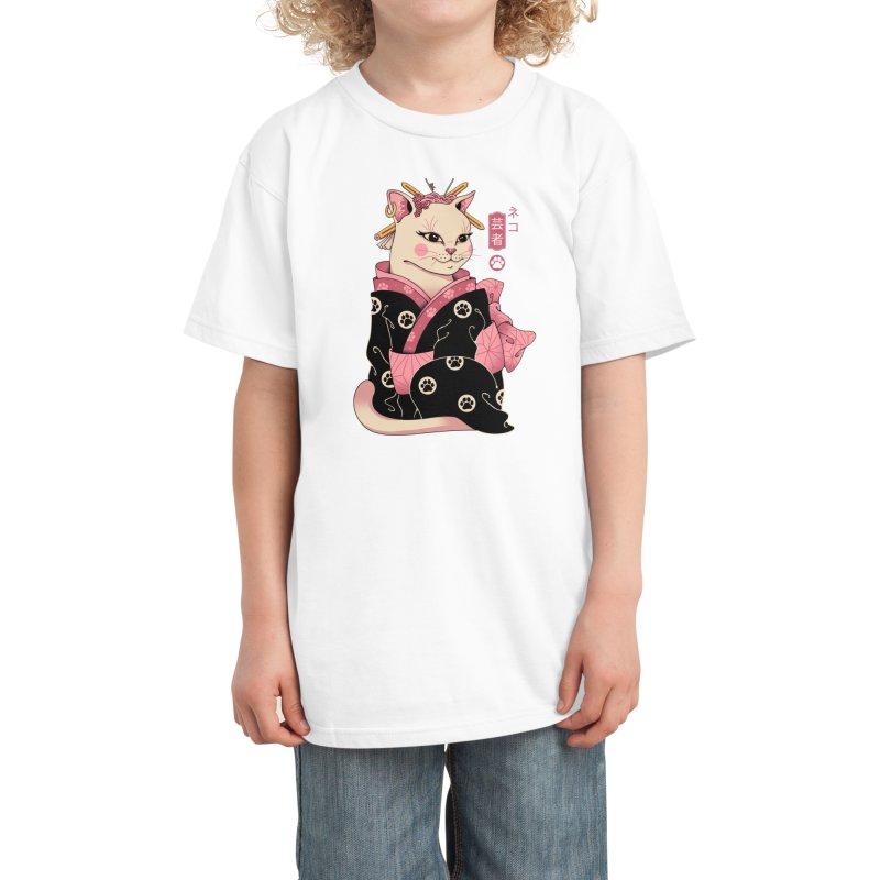 Neko Geisha Kids T-Shirt by Vincent Trinidad Art