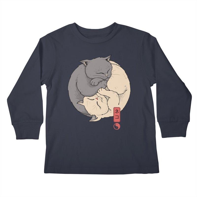 Yin Yang Cats Kids Longsleeve T-Shirt by Vincent Trinidad Art
