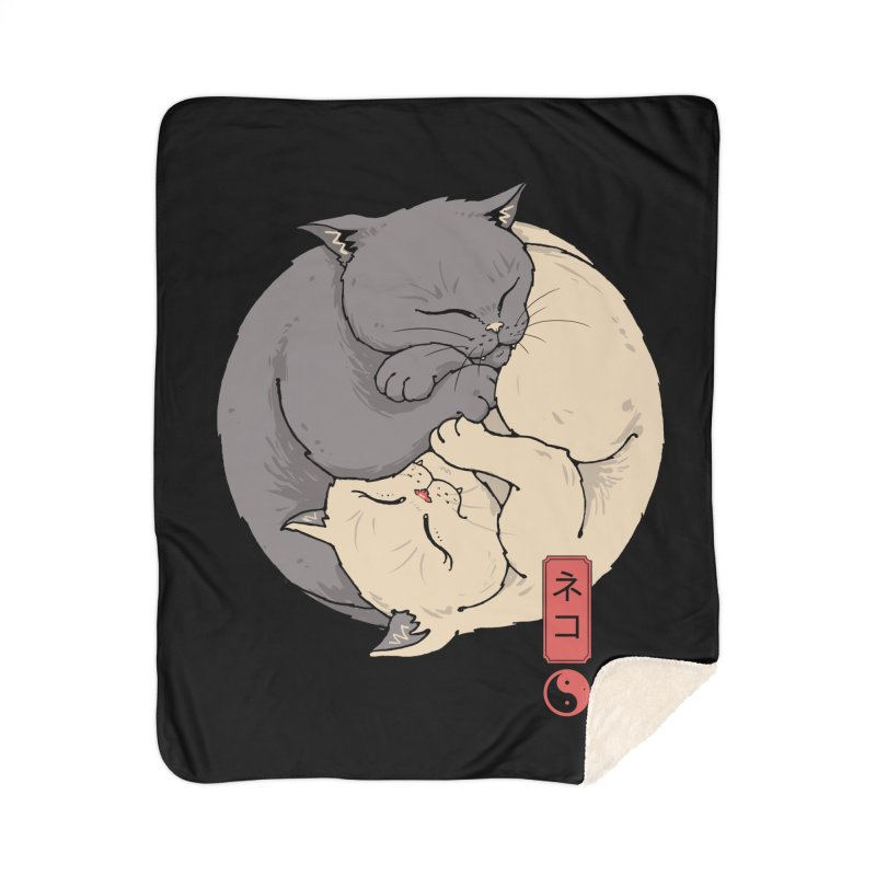 Yin Yang Cats Home Blanket by Vincent Trinidad Art