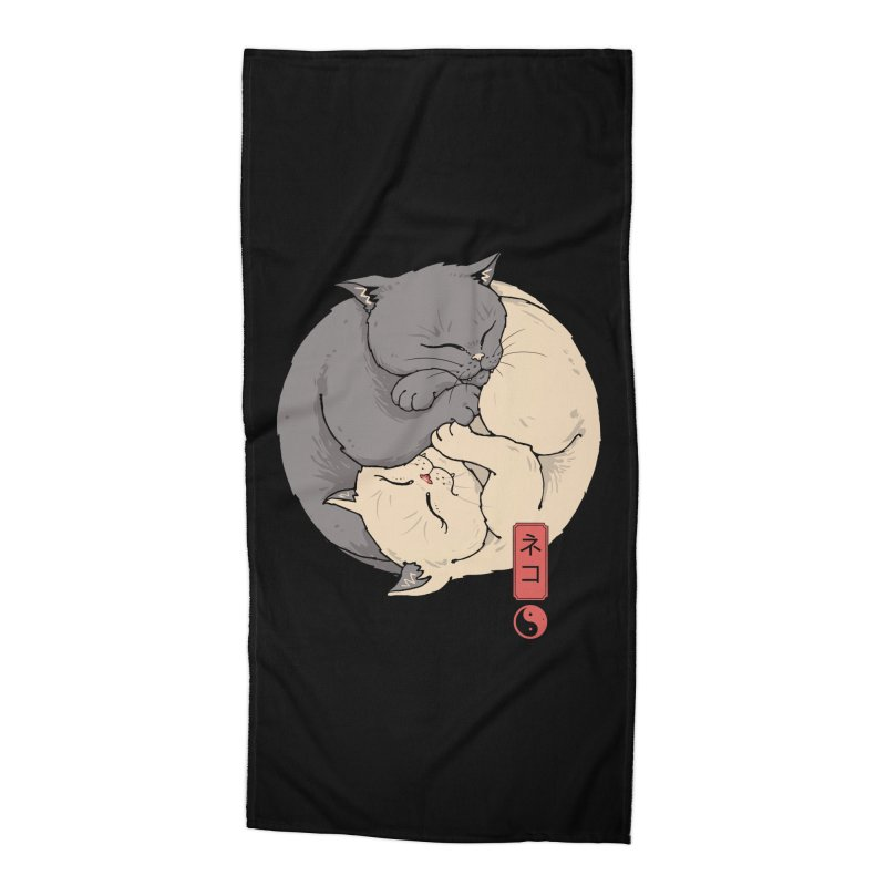 Yin Yang Cats Accessories Beach Towel by Vincent Trinidad Art