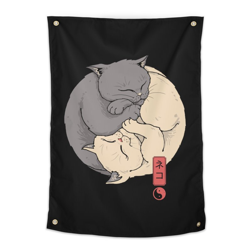 Yin Yang Cats Home Tapestry by Vincent Trinidad Art