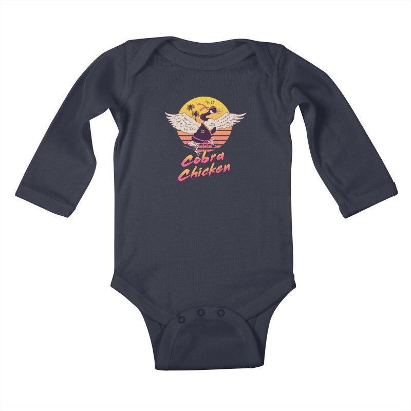 Cobra Chicken! Kids Baby Longsleeve Bodysuit by Vincent Trinidad Art