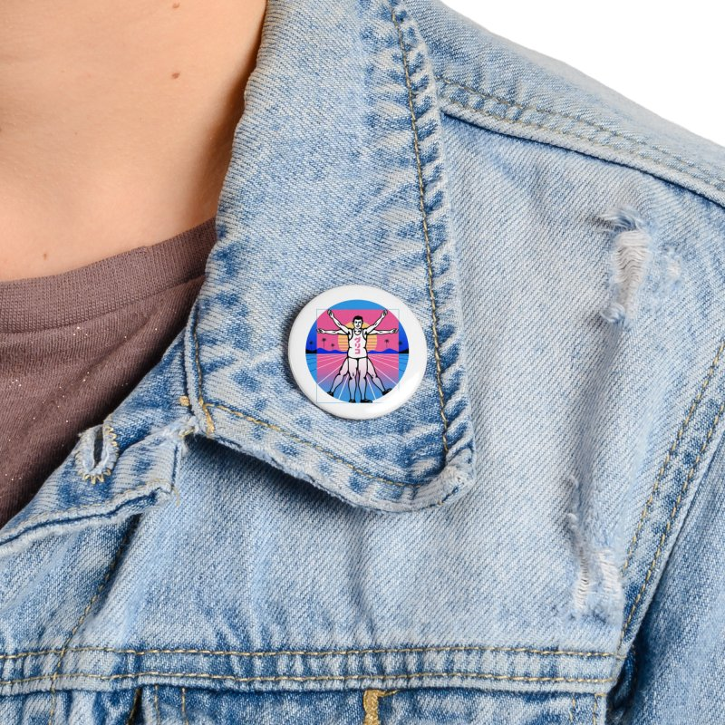 Running Vitruvian Man Accessories Button by Vincent Trinidad Art