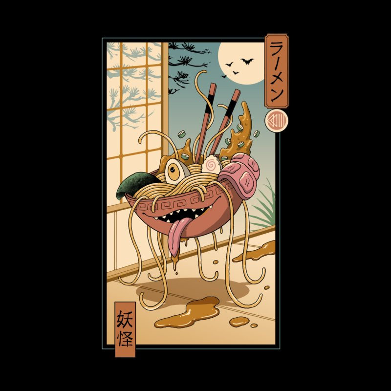 Yokai Ramen in Edo Men's T-Shirt by Vincent Trinidad Art