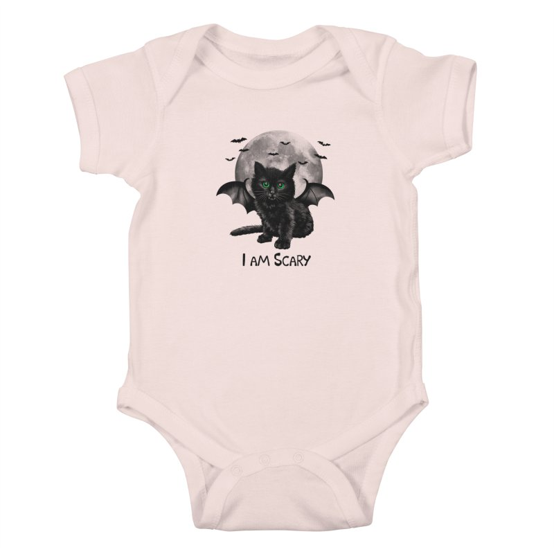 Scary Cat Kids Baby Bodysuit by vincenttrinidad's Artist Shop