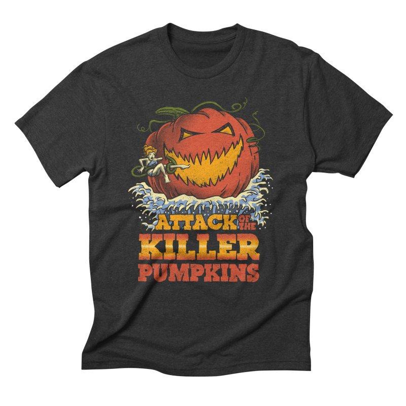 Attack of the Killer Pumpkins  Men's Triblend T-shirt by vincenttrinidad's Artist Shop