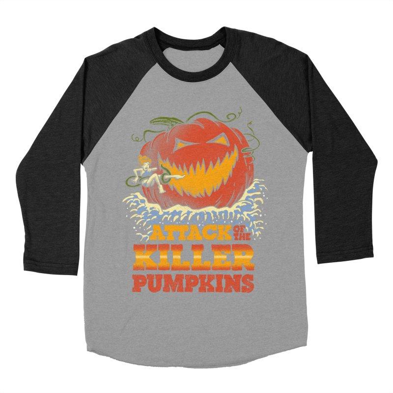 Attack of the Killer Pumpkins  Men's Baseball Triblend T-Shirt by vincenttrinidad's Artist Shop