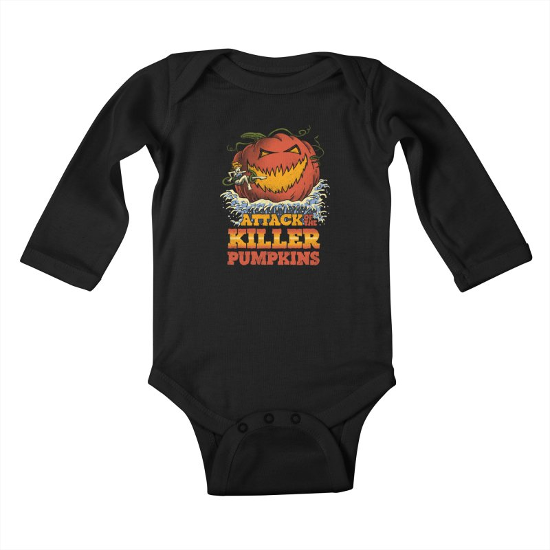Attack of the Killer Pumpkins  Kids Baby Longsleeve Bodysuit by vincenttrinidad's Artist Shop