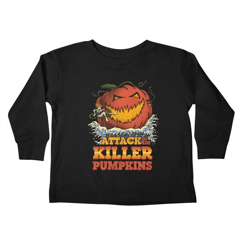 Attack of the Killer Pumpkins  Kids Toddler Longsleeve T-Shirt by vincenttrinidad's Artist Shop