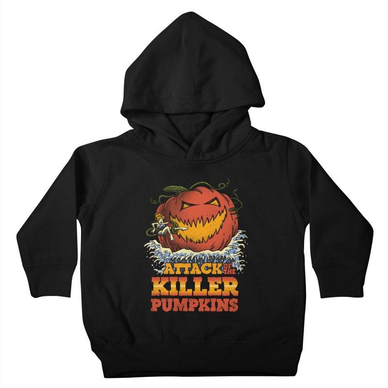 Attack of the Killer Pumpkins  Kids Toddler Pullover Hoody by vincenttrinidad's Artist Shop