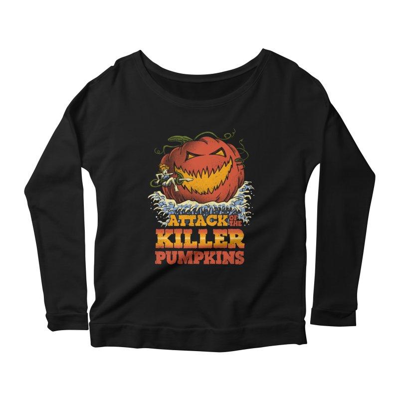 Attack of the Killer Pumpkins  Women's Longsleeve Scoopneck  by vincenttrinidad's Artist Shop