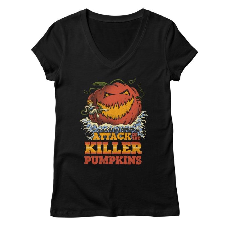 Attack of the Killer Pumpkins  Women's V-Neck by vincenttrinidad's Artist Shop