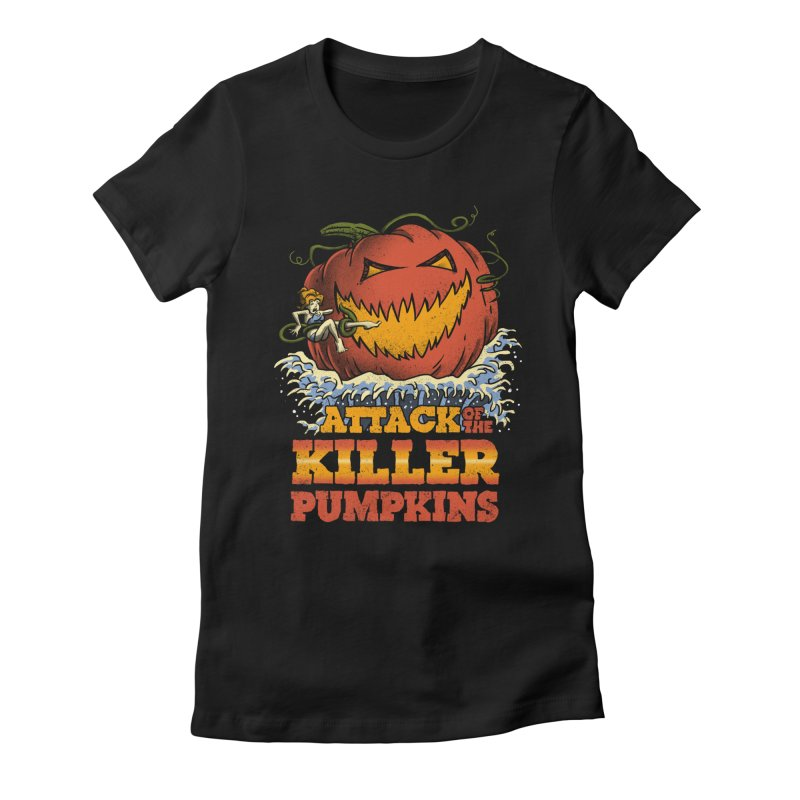 Attack of the Killer Pumpkins  Women's Fitted T-Shirt by vincenttrinidad's Artist Shop