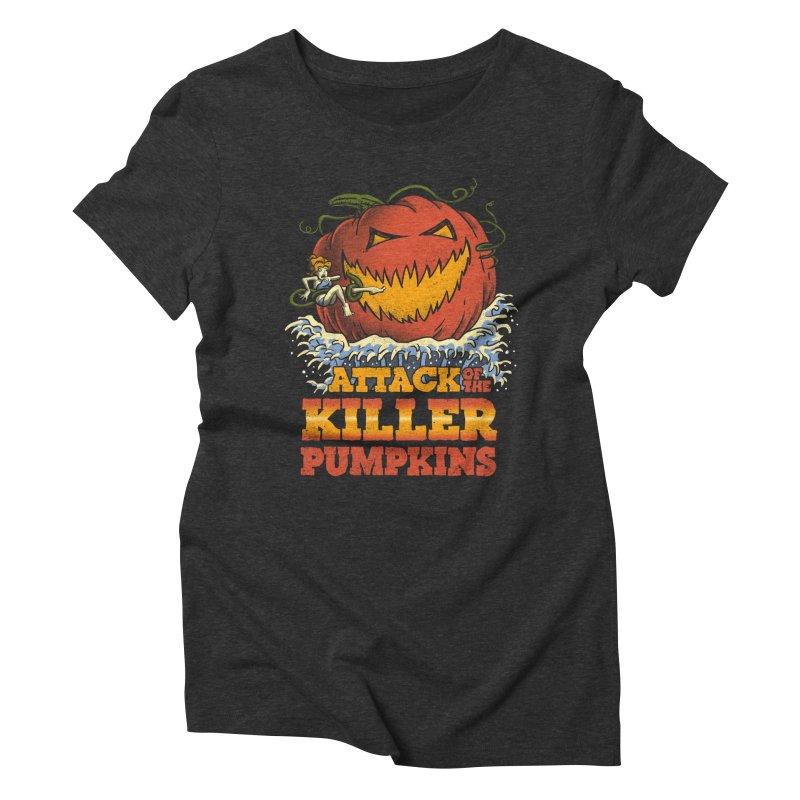 Attack of the Killer Pumpkins  Women's Triblend T-shirt by vincenttrinidad's Artist Shop