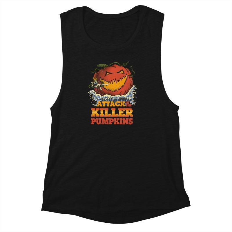 Attack of the Killer Pumpkins  Women's Muscle Tank by vincenttrinidad's Artist Shop