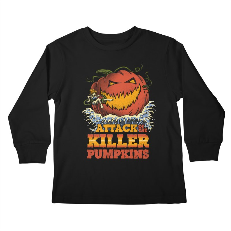 Attack of the Killer Pumpkins  Kids Longsleeve T-Shirt by vincenttrinidad's Artist Shop