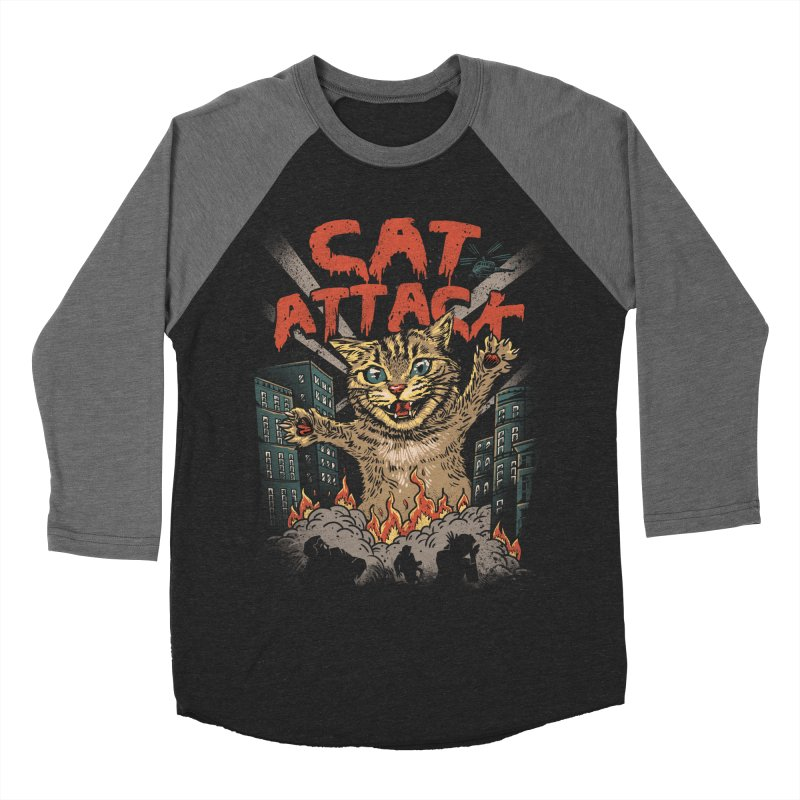 Cat Attack Women's Baseball Triblend T-Shirt by vincenttrinidad's Artist Shop