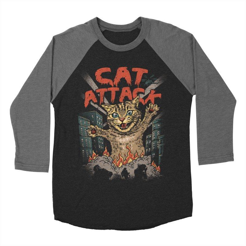 Cat Attack Men's Baseball Triblend T-Shirt by vincenttrinidad's Artist Shop