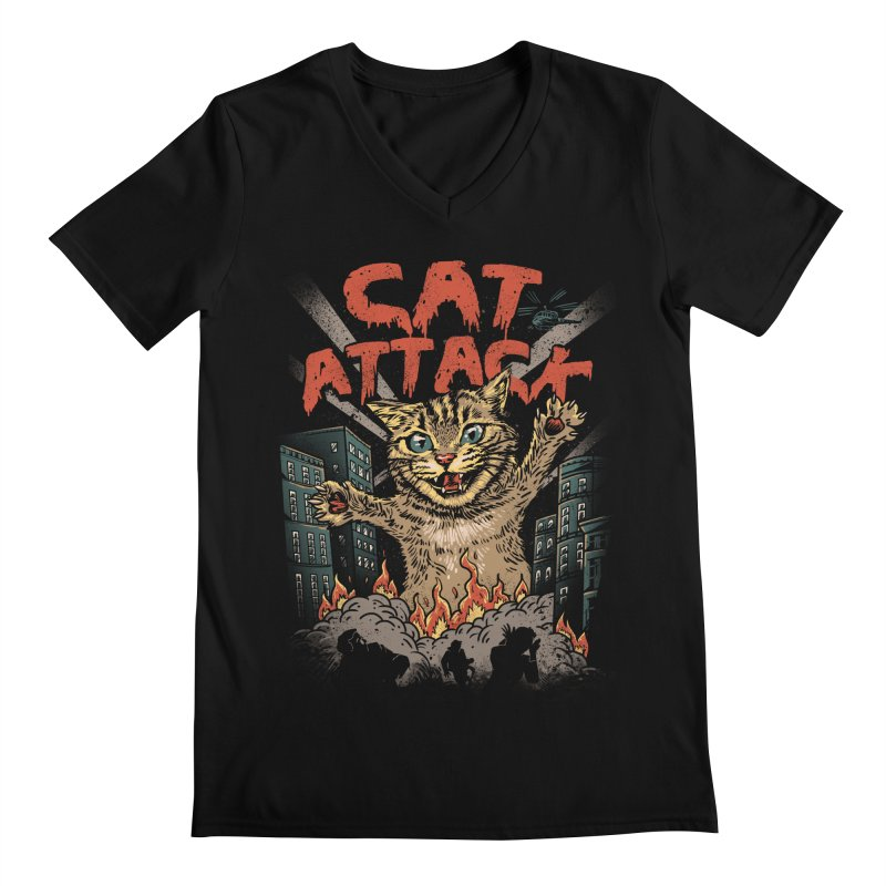 Cat Attack Men's V-Neck by vincenttrinidad's Artist Shop
