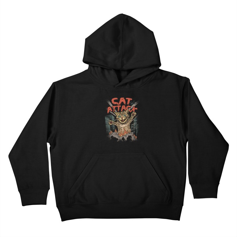 Cat Attack Kids Pullover Hoody by vincenttrinidad's Artist Shop