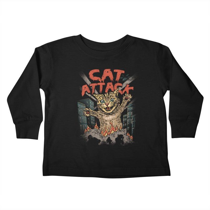 Cat Attack Kids Toddler Longsleeve T-Shirt by vincenttrinidad's Artist Shop